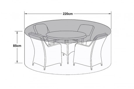 Maze Rattan 4 Seat Round Dining Set Garden Furniture Cover