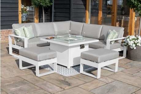 Maze - Amalfi Square Corner Dining Set With Fire Pit Table -White