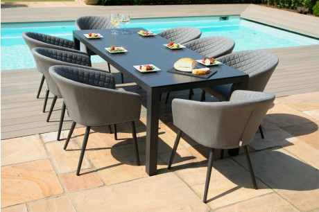 Maze Ambition 8 Seat Rectangular Dining Set in Flanelle Colour