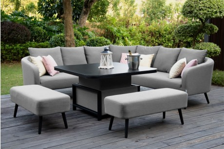 Maze Outdoor Fabric Ambition Garden Corner Sofa Set With Rising Table - Flanelle