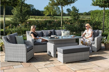 Maze Rattan Ascot 3 Seat Casual Sofa Dining With Rising Table and Bench