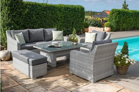 Maze Rattan Ascot Garden Sofa Dining With rising Table