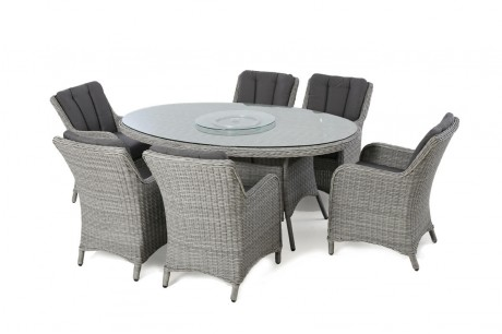 Maze Rattan Ascot 6 Seat Oval Garden Dining Set - Natural Colour