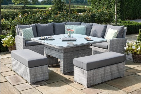 Maze Rattan Ascot Deluxe Square Corner Dining Set With Rising Table