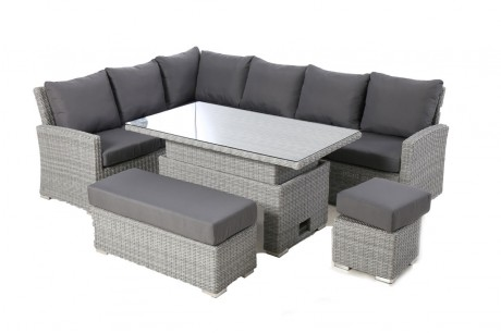 Maze Rattan Ascot Rectangular Corner Dining Set With Rising Table