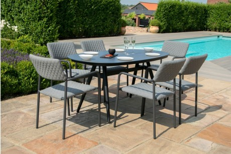 Maze Bliss Outdoor Fabric 6 Seat Oval Garden Dining Set in Flanelle 1