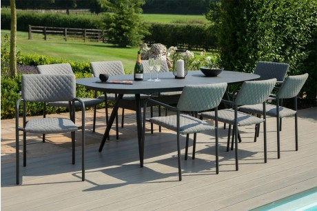 Maze Bliss Outdoor Fabric 8 Seat Oval Garden Dining Set