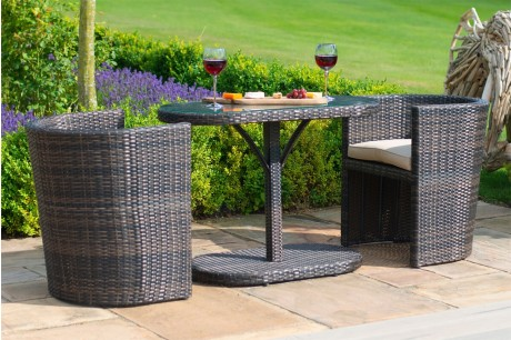 Maze Rattan Compact Balcony Bistro Set - Brown Colour