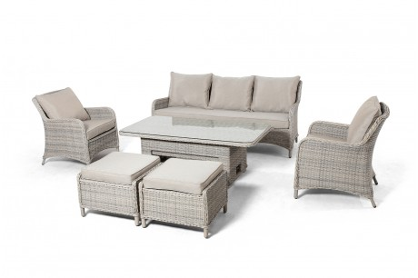 Maze Rattan Cotswolds 3 seat Sofa Dining Set With Rising Table