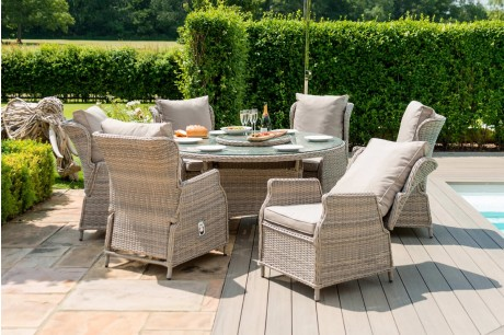 Maze Rattan Cotswolds Reclining 6 Seat Round Dining Set With Lazy Susan