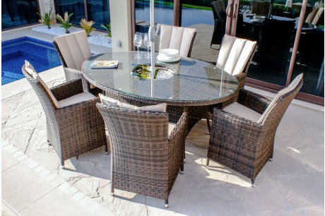 Maze Rattan - LA 6 Seat Oval Dining Set with a Luxury Inset Ice Bucket