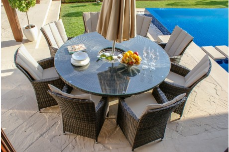 LA 8 Seater With Ice Bucket Round Garden Furniture Set In grey Rattan Colour - Image 1