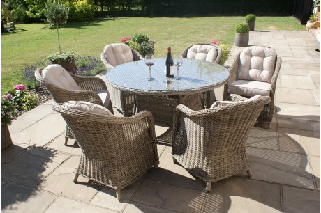 Maze Rattan Winchester 6 Seat Round Garden Dining Set with Round Chairs - Image 1