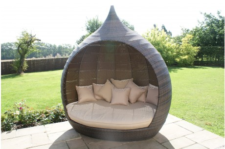 Maze Rattan Pear Rattan Garden Daybed In Brown Flat Rattan Colour - Image 1