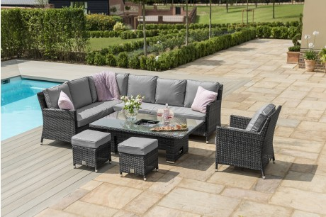 Maze Rattan Venice Corner Sofa Dining Set with Armchair & Rising Table In Grey Flat Weave - Image 1