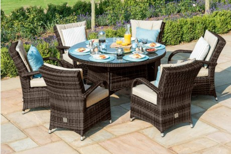 Maze Rattan Texas 6 Seat Round Dining Set With Ice Bucket In Brown Colour