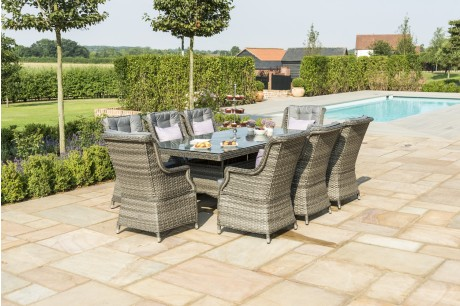 Maze Rattan **NEW** Victoria 8 Seat Rectangular Garden Dining Set With Highback armchairs