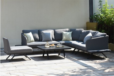 Maze Cove Outdoor Fabric Large Corner Sofa Set in Flanelle 1
