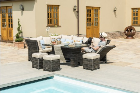 Maze Rattan Henley Corner Garden Sofa Dining Set With Rising Table