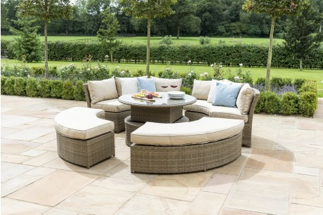 Maze Rattan Tuscany Chelsea Lifestyle Suite Sofa Dining Set With Adjustable Table & Daybed