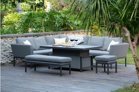 Maze Pulse Rectangula Corner Garden Dining Set With Rising Table