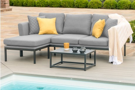 Maze Pulse Outdoor Fabric 3 Seat Chaise Sofa Set In Flanelle Colour