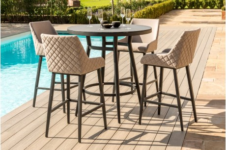 Maze Regal 4 Seat Outdoor Fabric Round Bar Set