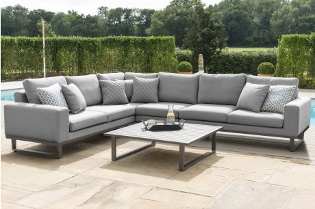 Maze Ethos outdoor fabric Large Corner Garden sofa Set In Flanelle Grey Colour