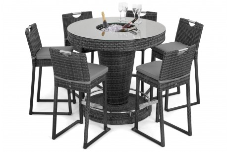 Maze Rattan 6 Seat Round Bar Set With 6 Bar stools