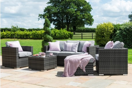 Georgia Garden Sofa Set with ice bucket Grey Flat Weave