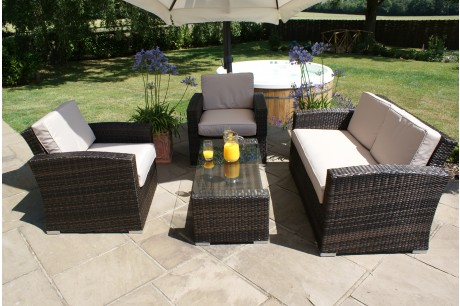Maze Rattan Kingston 2 Seat Garden Furniture Set In Brown Rattan Colour - Image 1