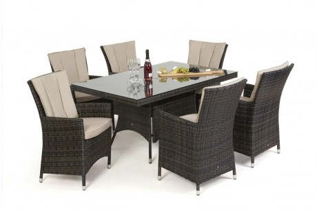 Maze Rattan LA 6 Seat Rectangular Dining Set In Brown Rattan Colour