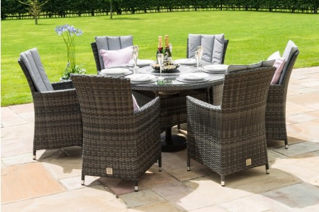 Maze Rattan LA 6 Seat Round Dining Set - Luxury Inset Ice Bucket