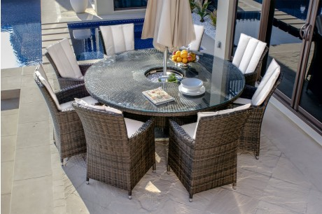 Maze Rattan LA 8 Seat Round Dining Set With Inset Ice Bucket In Brown Flat Weave