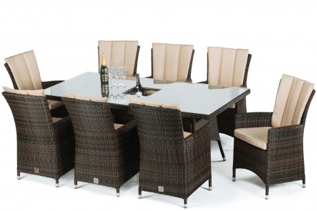 Maze Rattan LA 8 Seat Rectangular Garden Dining Set with a Luxury Inset Ice Bucket - Image 1