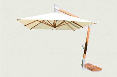 3m Square Premium Cantilever Parasol with Bamboo Base - Maze Rattan