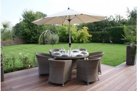 Maze Rattan - Milan 6 Seat Dining Set with Round Chairs