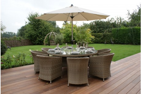 Maze Rattan - Milan 8 Seat Dining Set with Round Chairs