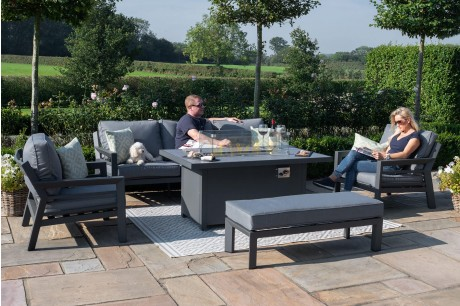 Maze Rattan New York 3 Seat Garden Sofa Set With Fire Pit Table