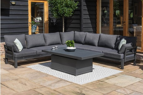 Maze Rattan Oslo Large Corner Sofa Group With Rising Table