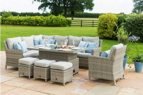 Maze Rattan Oxford Venice Corner Sofa Dining Set With Ice Bucket Rising Table and 3 Foostools - Image 1