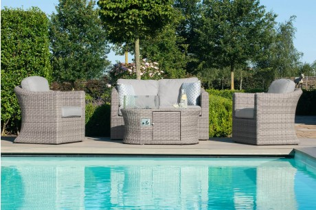 Maze Rattan Oxford 2 Seat Garden Sofa Set With Fire Pit Coffee Table