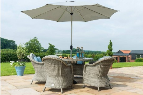 Maze Rattan Oxford 6 Seat Round Ice Bucket Garden Dining Set with Rounded Chairs and Lazy Susan - Image 4