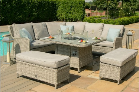 Maze Rattan Oxford Royal Corner Rising Dining Set With Fire Pit