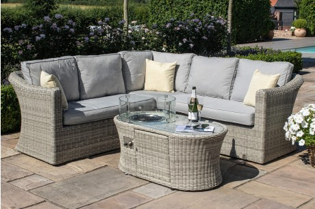 Maze Rattan Oxford Small Corner Sofa Set With Fire Pit Coffee Table