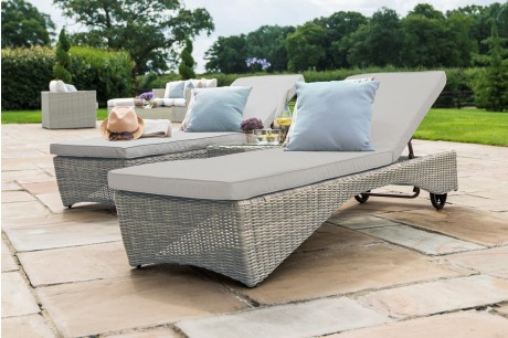 Maze Rattan Oxford Pair Sun Lounger set with Coffee Table In Natural round weave colour - Image 1