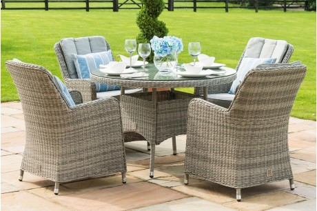 Maze Rattan Oxford 4 Seat Round Dining Set With Venice Chairs - Image 1