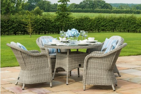 Maze Rattan Oxford 4 Seater Round Dining Set with Rounded Chairs From Rattan Furntiure Fairy - Image 1