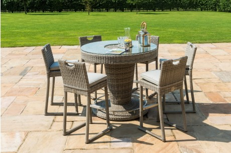 Oxford 6 Seater Round Garden Bar Set with Luxury Inset Ice Bucket in Natural Weave Colour Tone