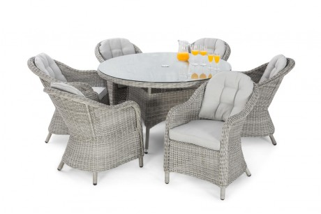 Maze Rattan Oxford 6 Seat Round Dining Set with Rounded Chairs White up